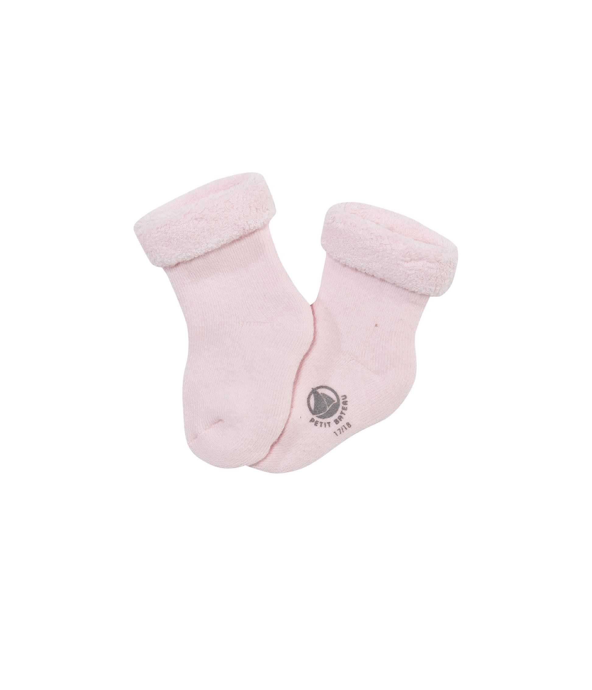 Baby jersey towelling socks with turn-ups
