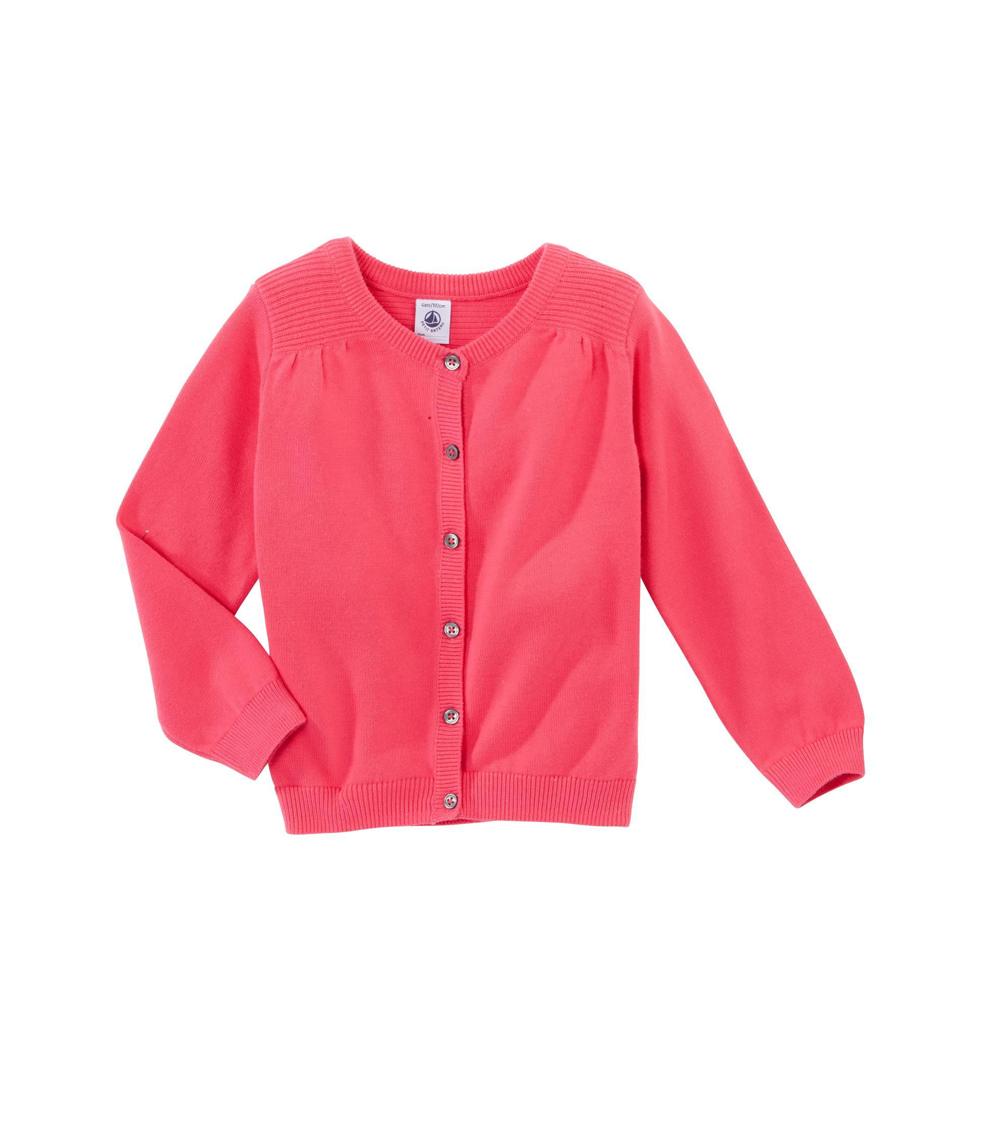 Girl`s plain gathered cardigan