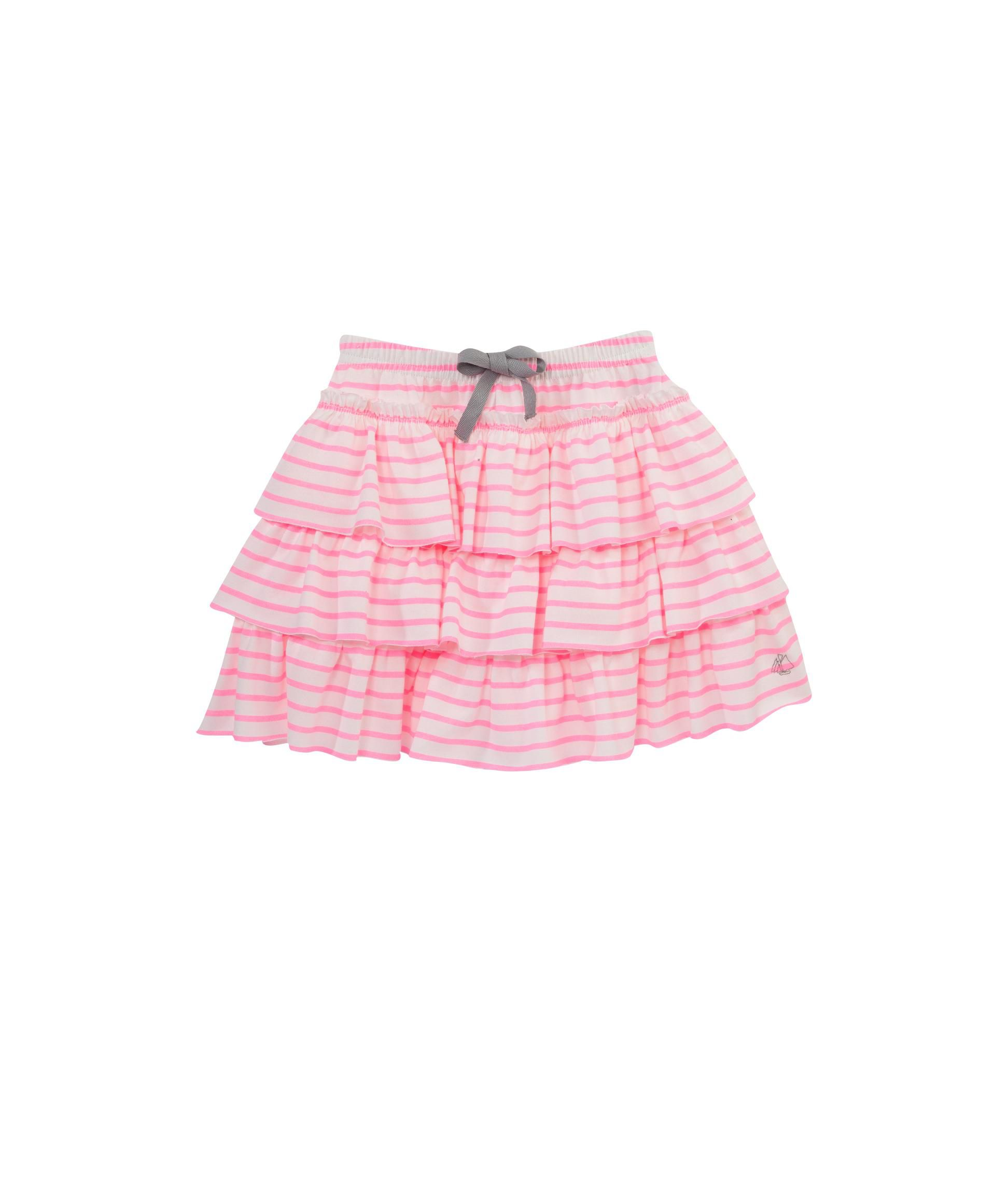 Girl`s ruffle skirt in fluorescent stripe jersey
