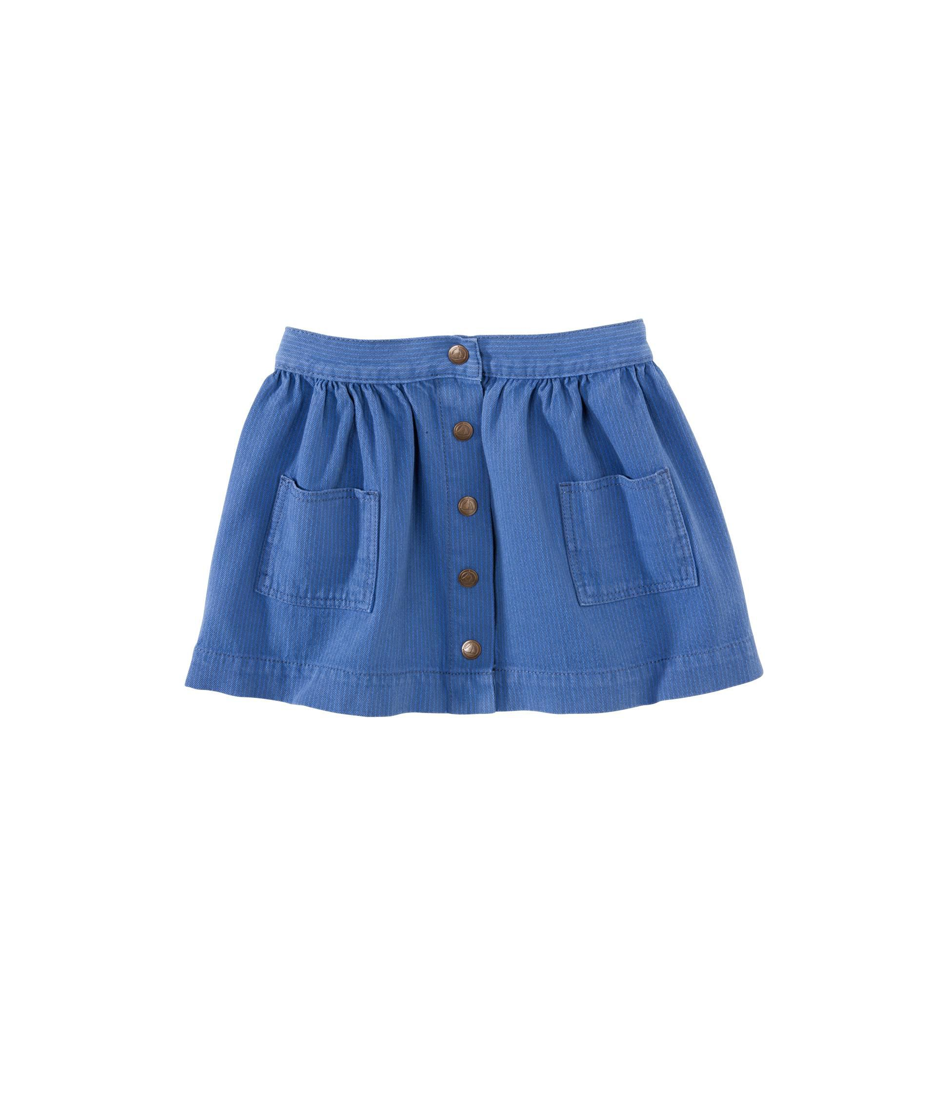 Girl`s buttoned skirt in overdyed stripe serge