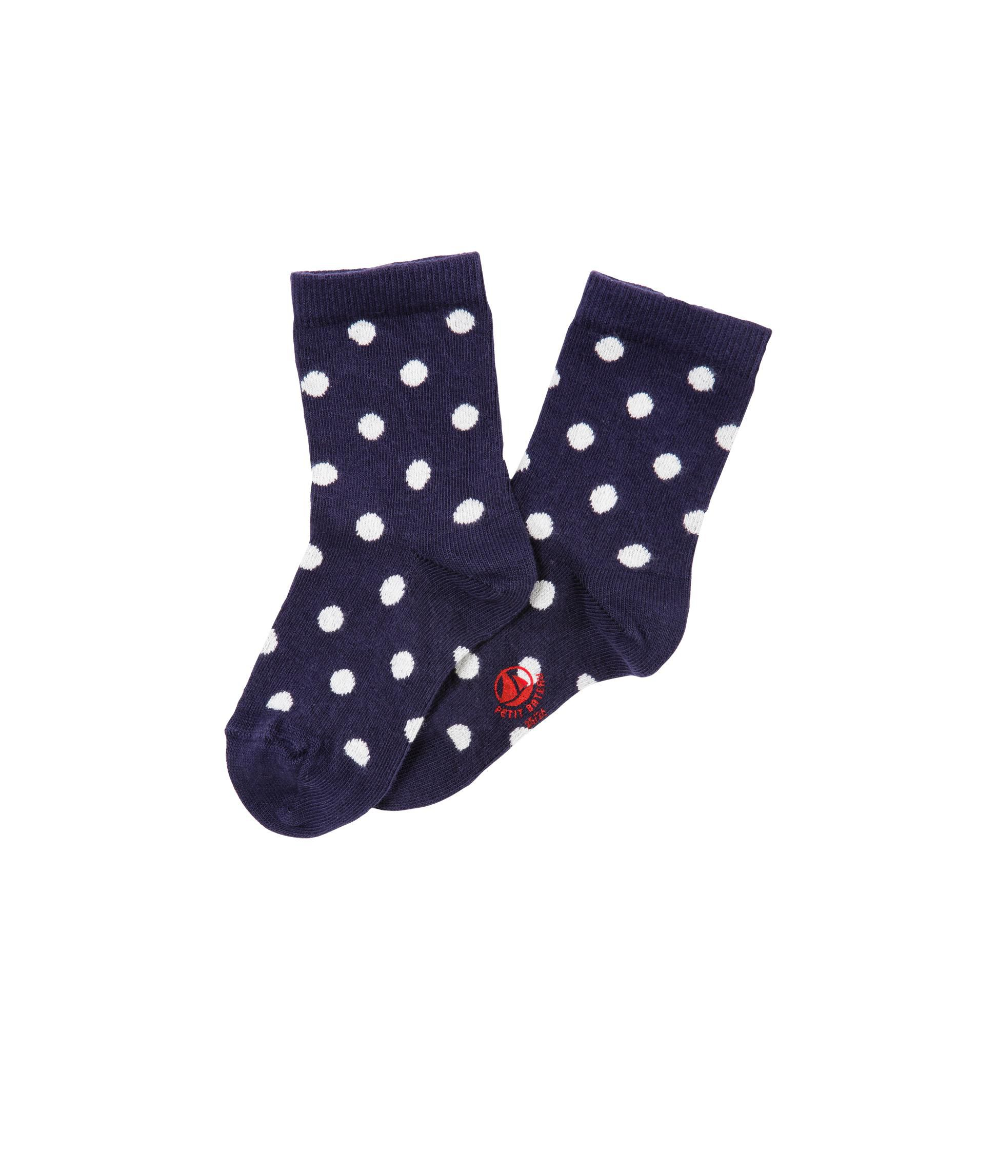Girl`s jacquard polka dot socks