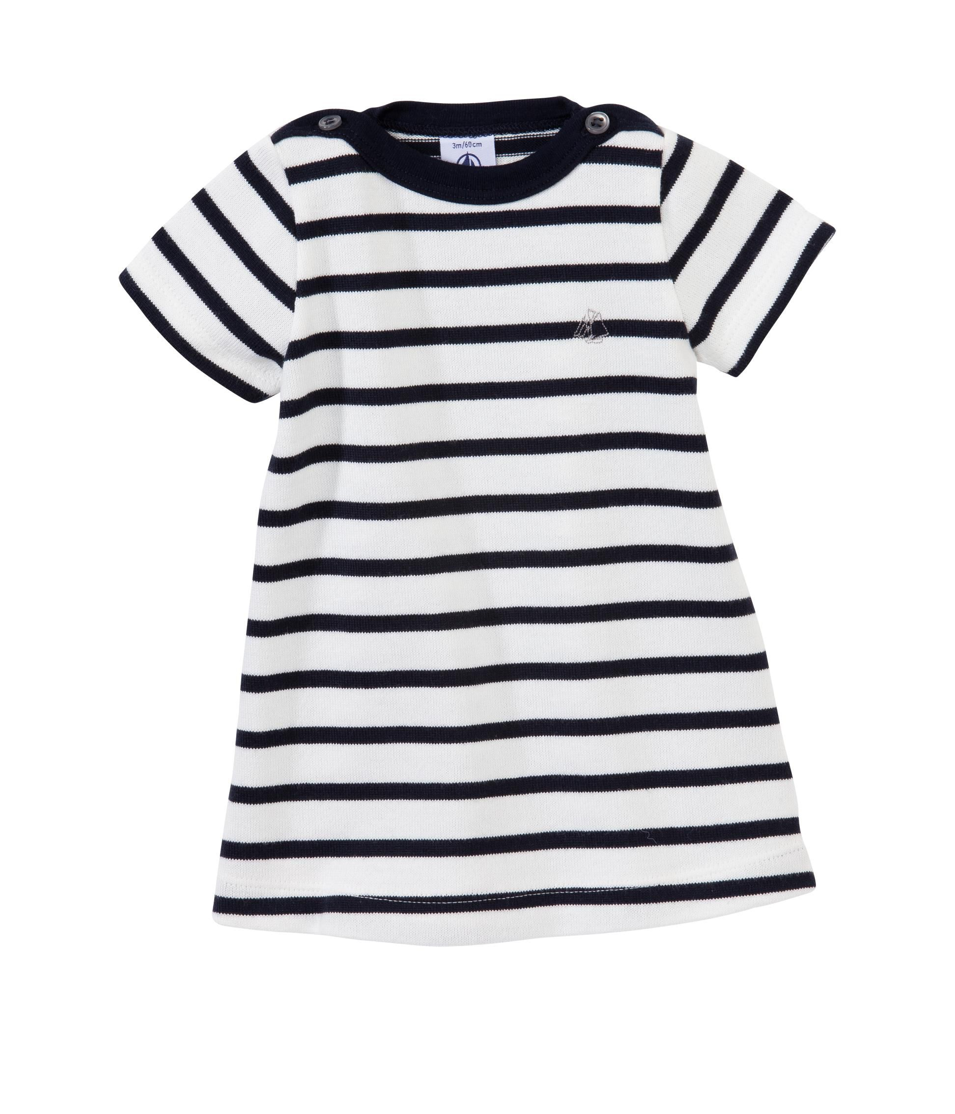 Baby girl marinière dress with boat-neck