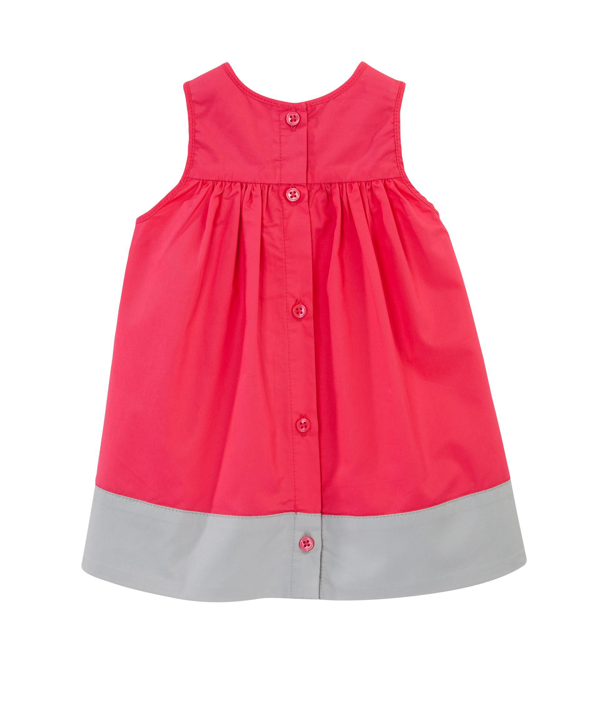 Two-tone baby girl dress in mini serge