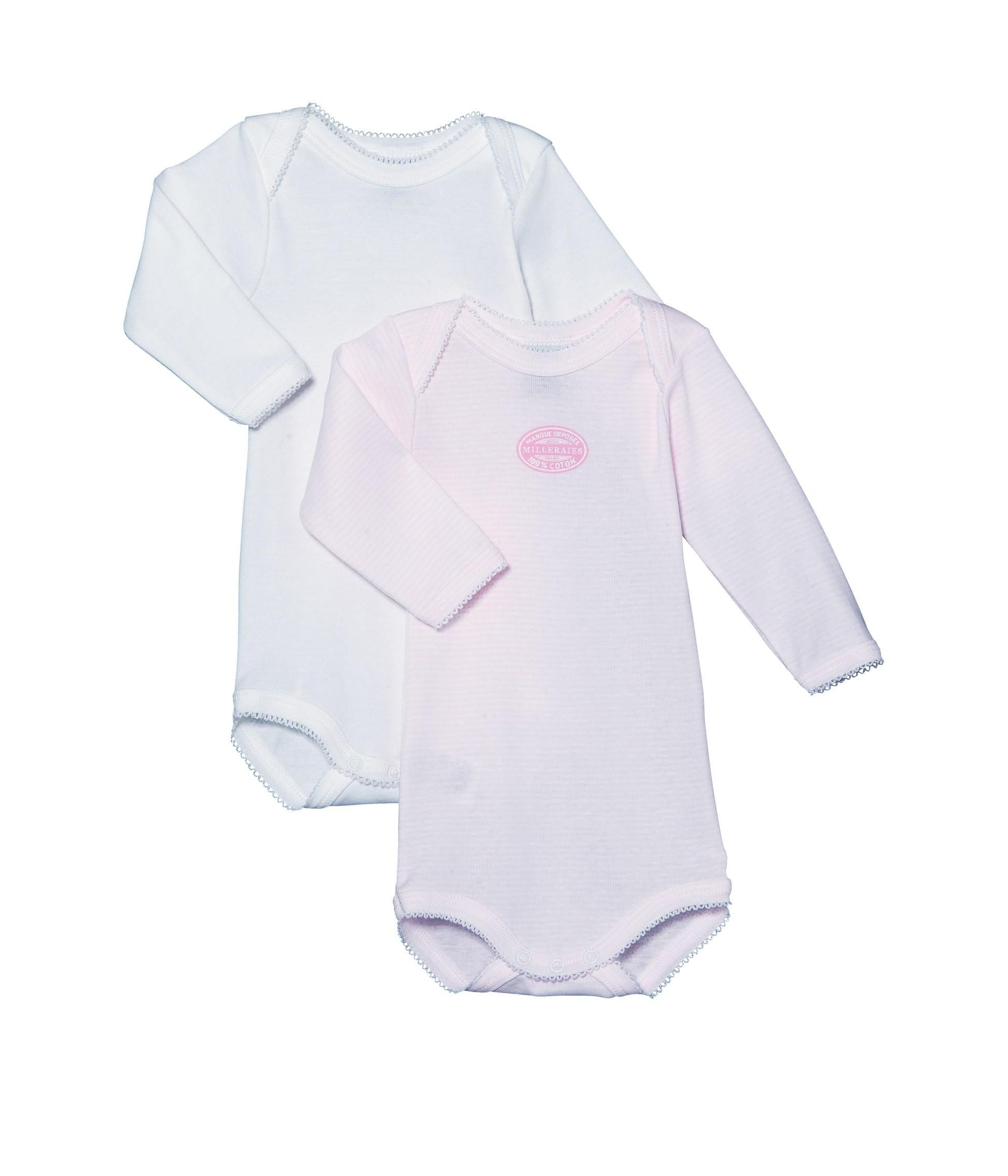 Pack of 2 baby envelope-neck bodysuits