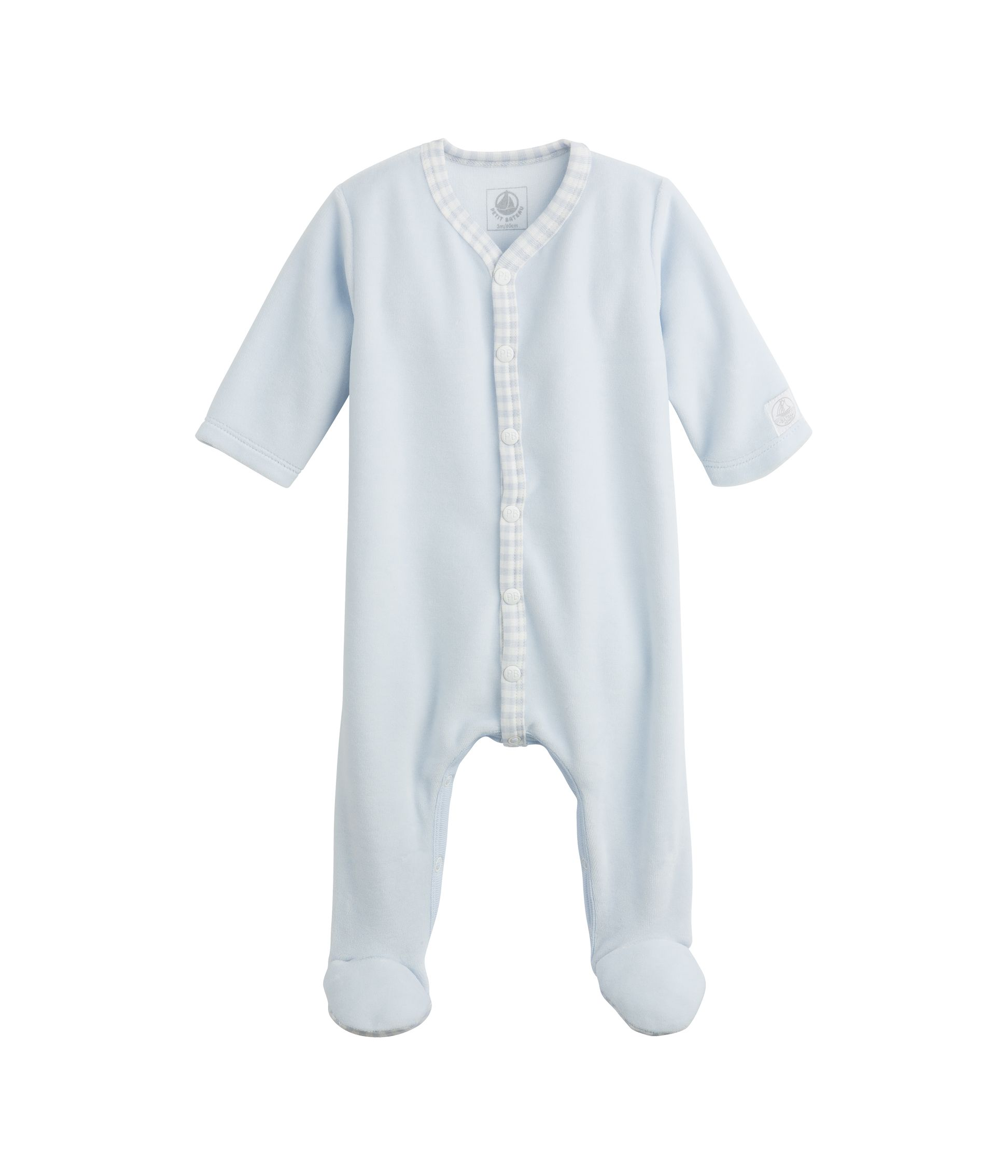 Baby sleepsuit in plain velour and cotton gingham