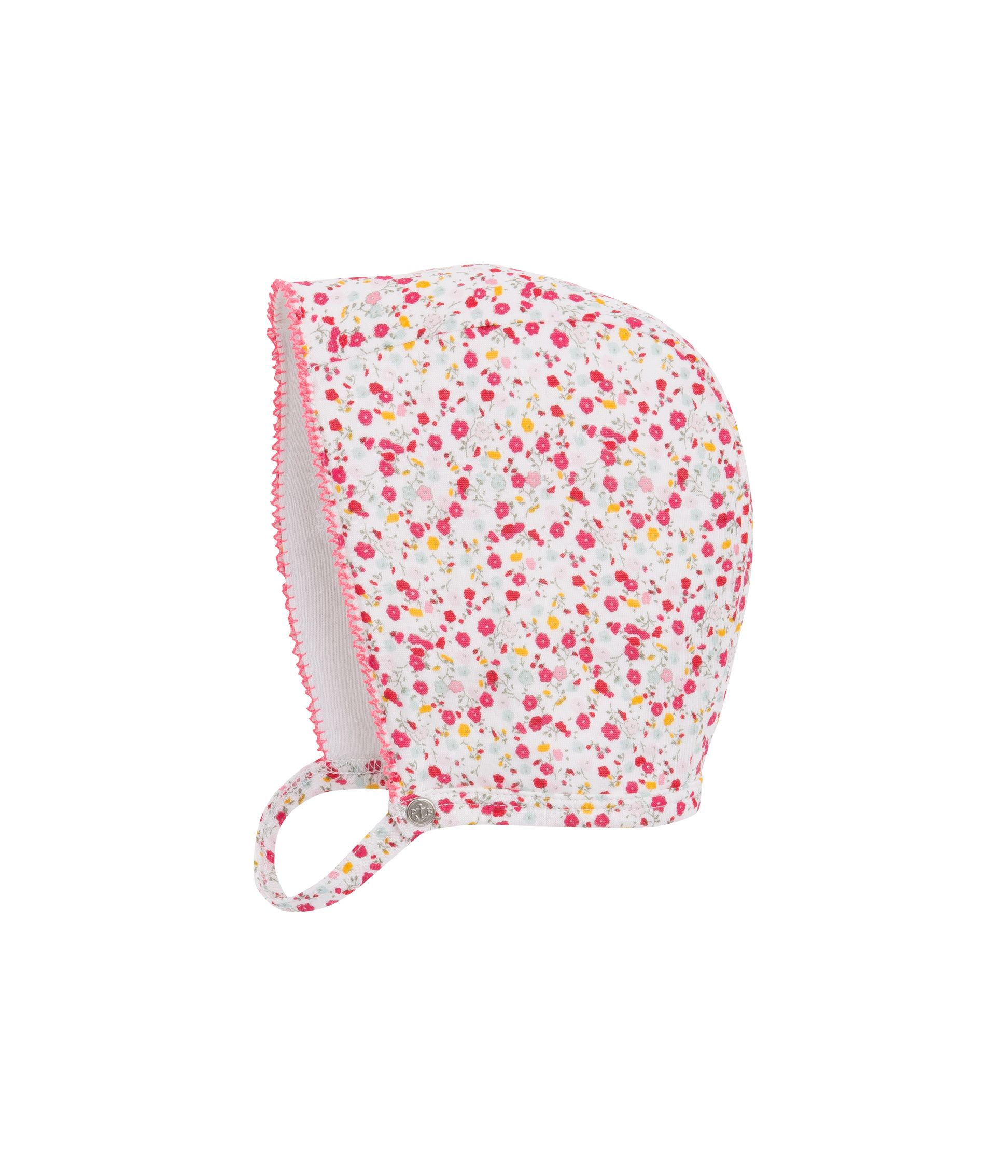 Baby girl`s flower print bonnet