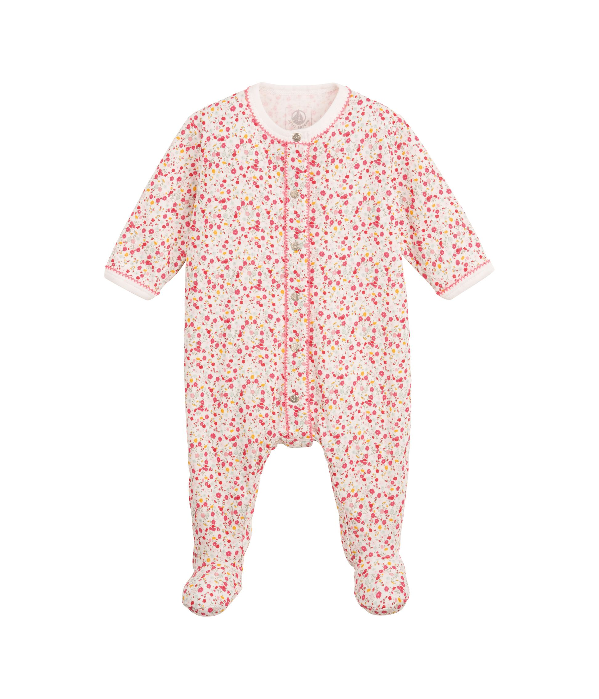 Baby girl`s flower print sleepsuit