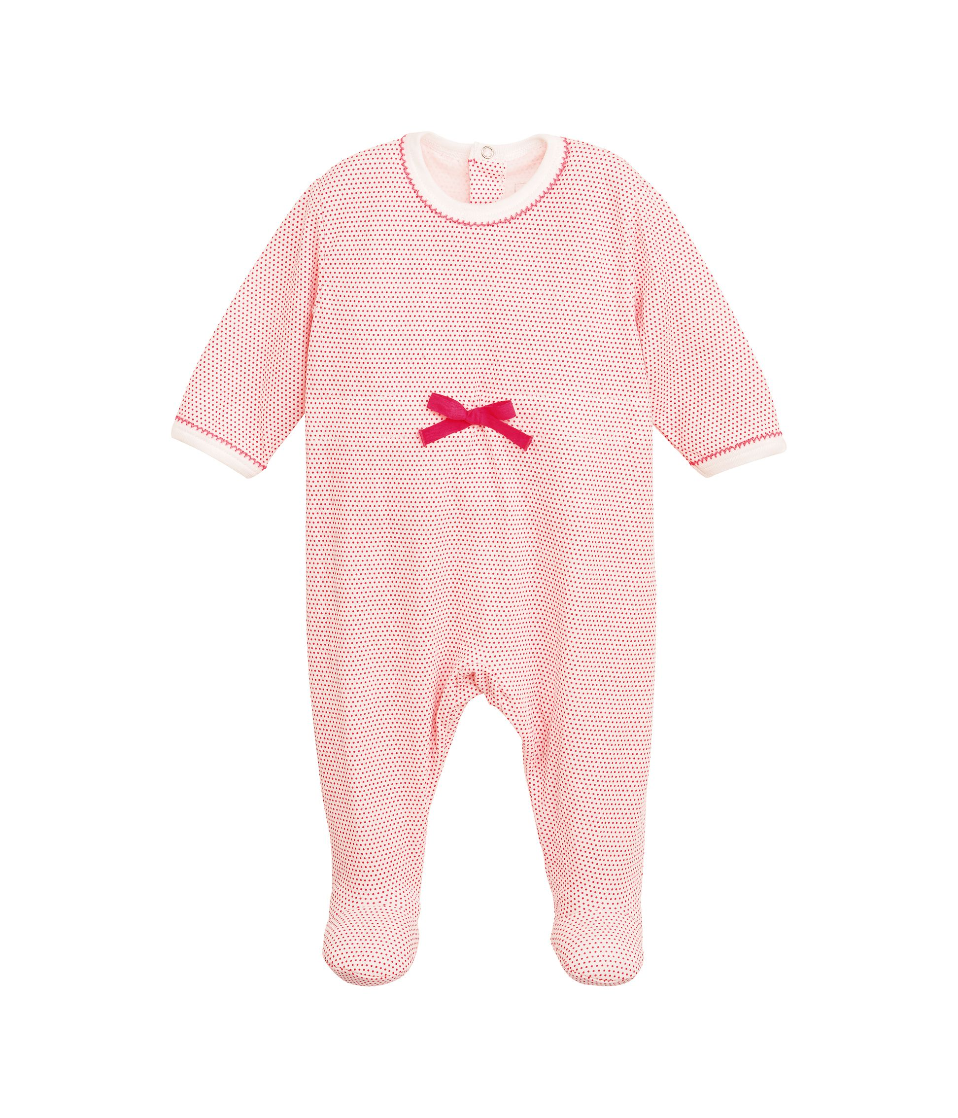 Baby girl`s back opening printed sleepsuit