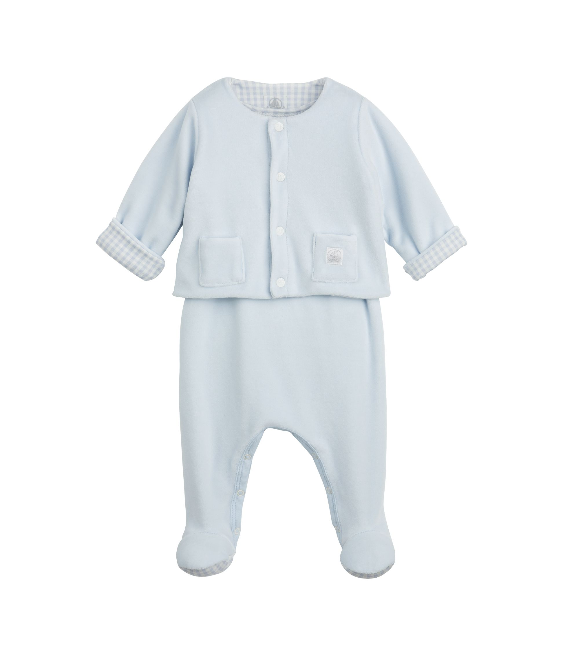 Baby reversible velour jacket and sleepsuit