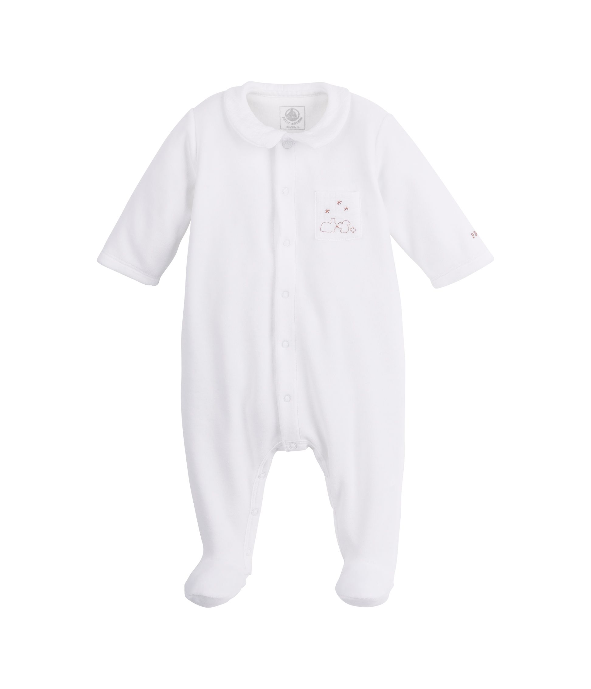 Baby front opening sleepsuit with collar