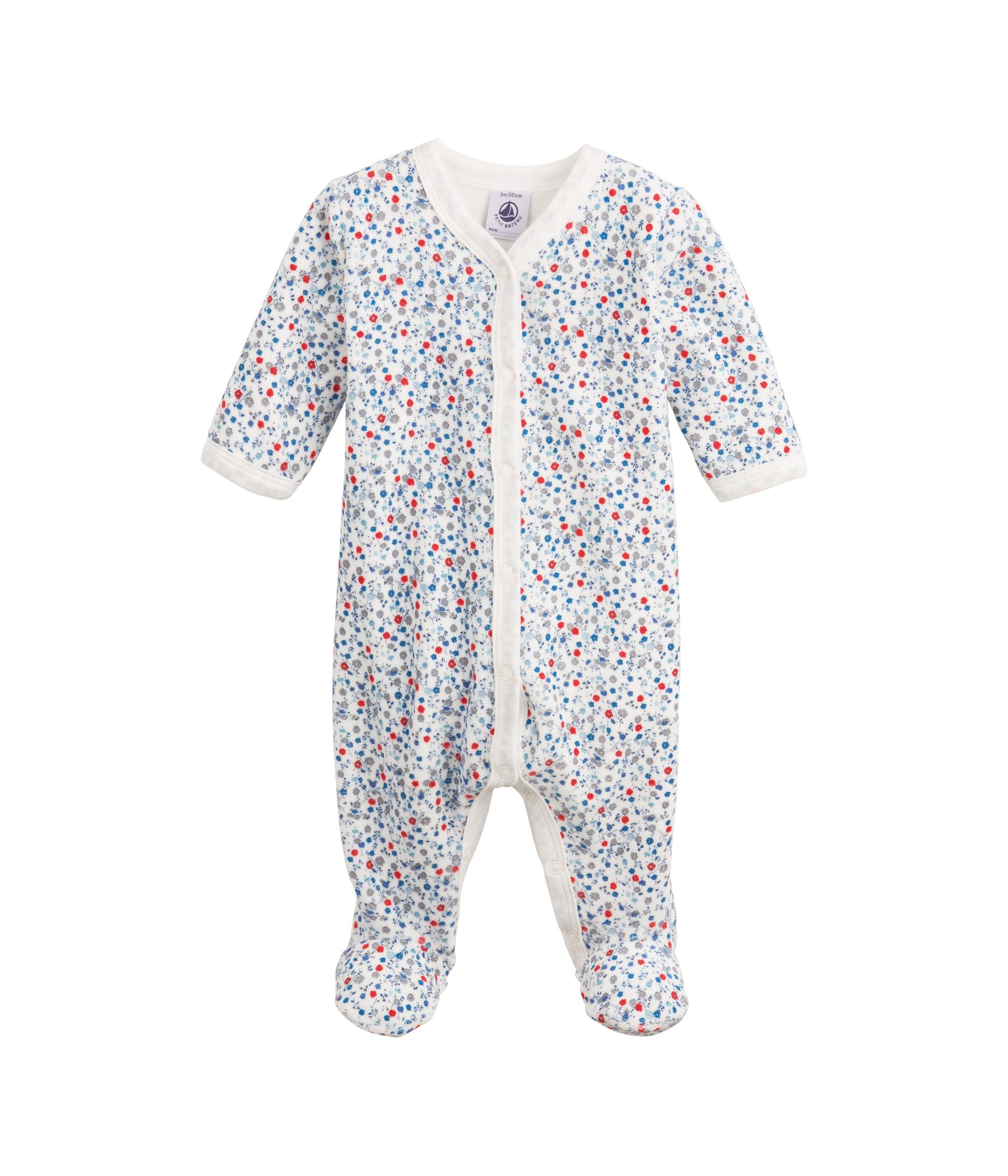 Baby girl`s bouquet print velour sleepsuit