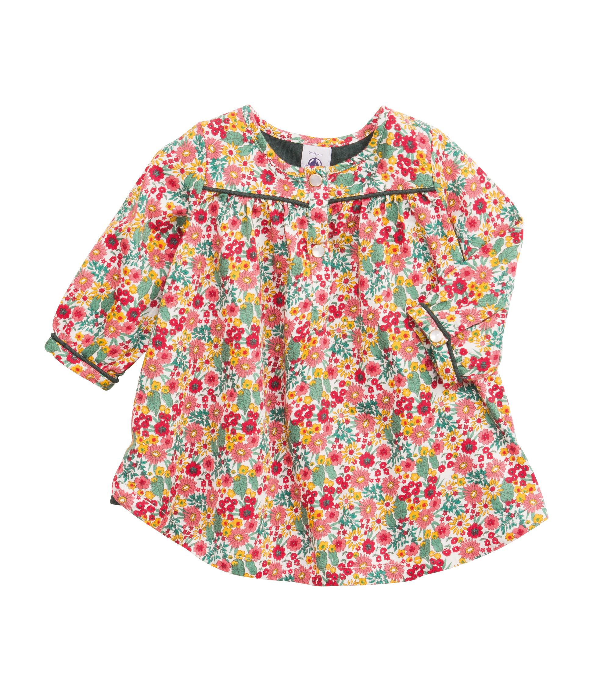 Baby girl`s blouse in flower print cotton satin