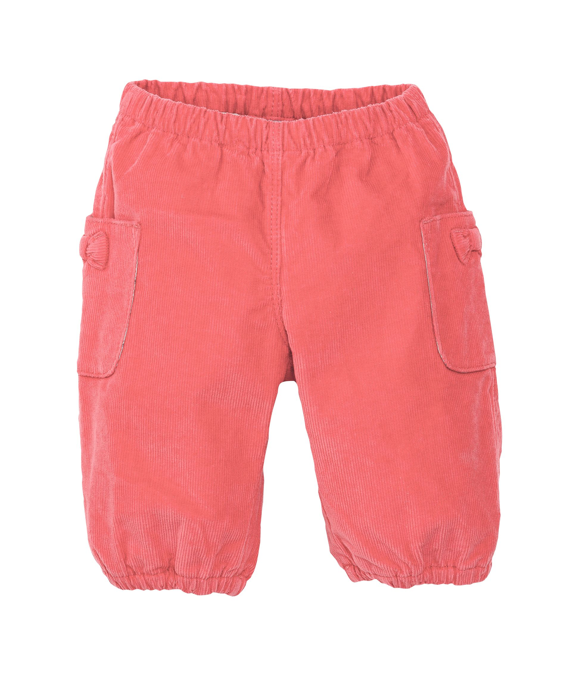 Baby girl`s stretch corduroy trousers with bow