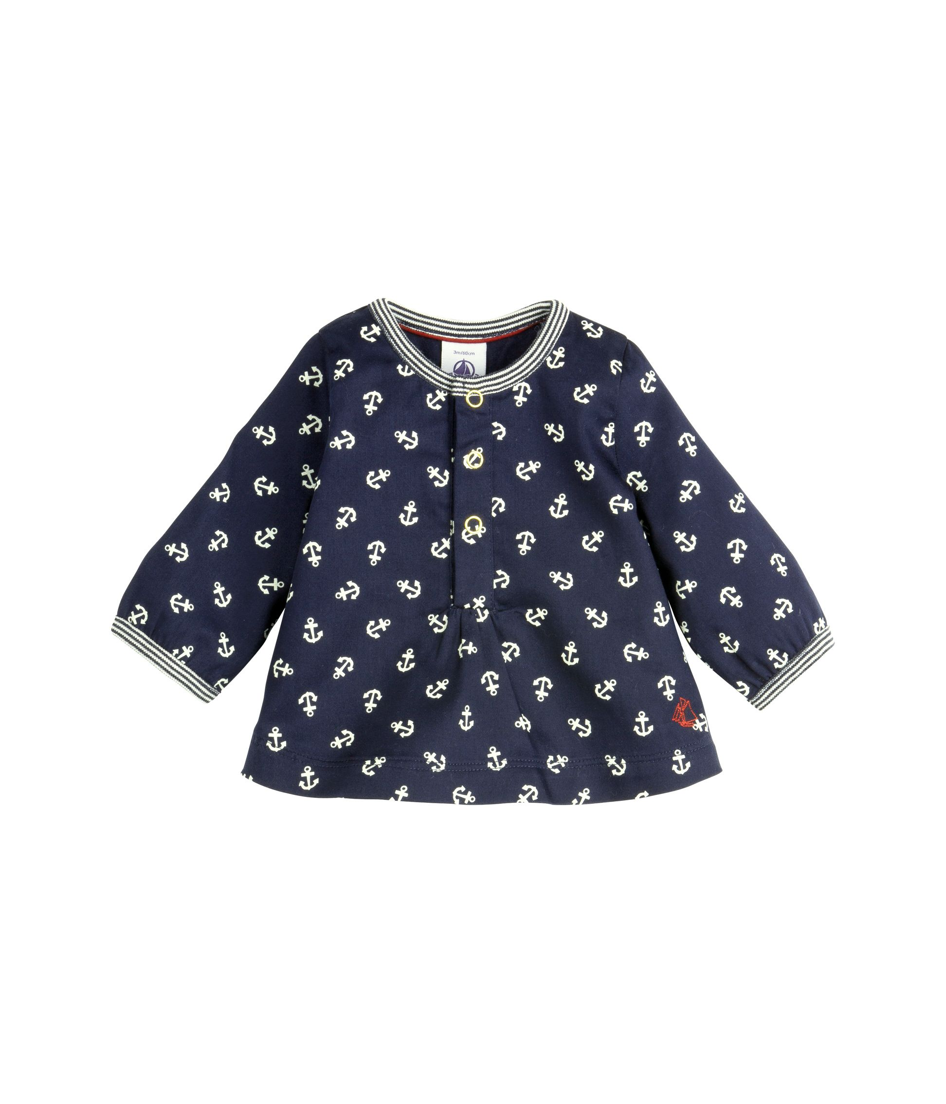 Baby girl`s printed cotton satin blouse