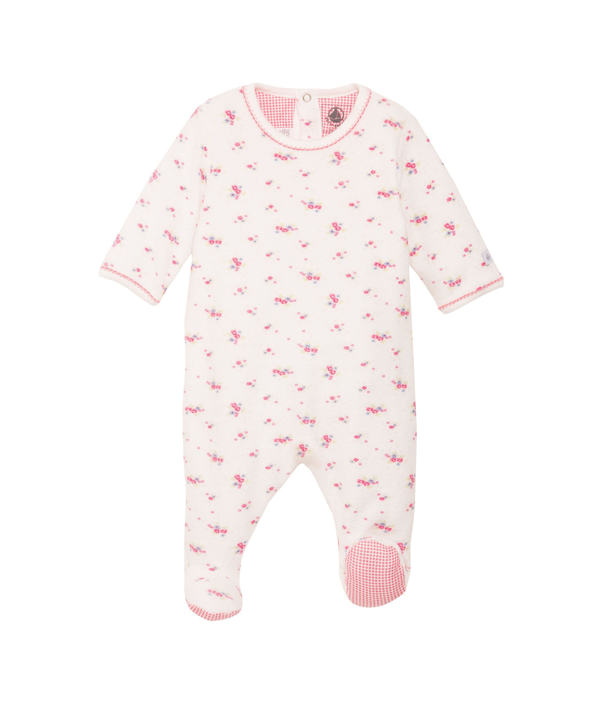 Baby girls towelling sleepsuit
