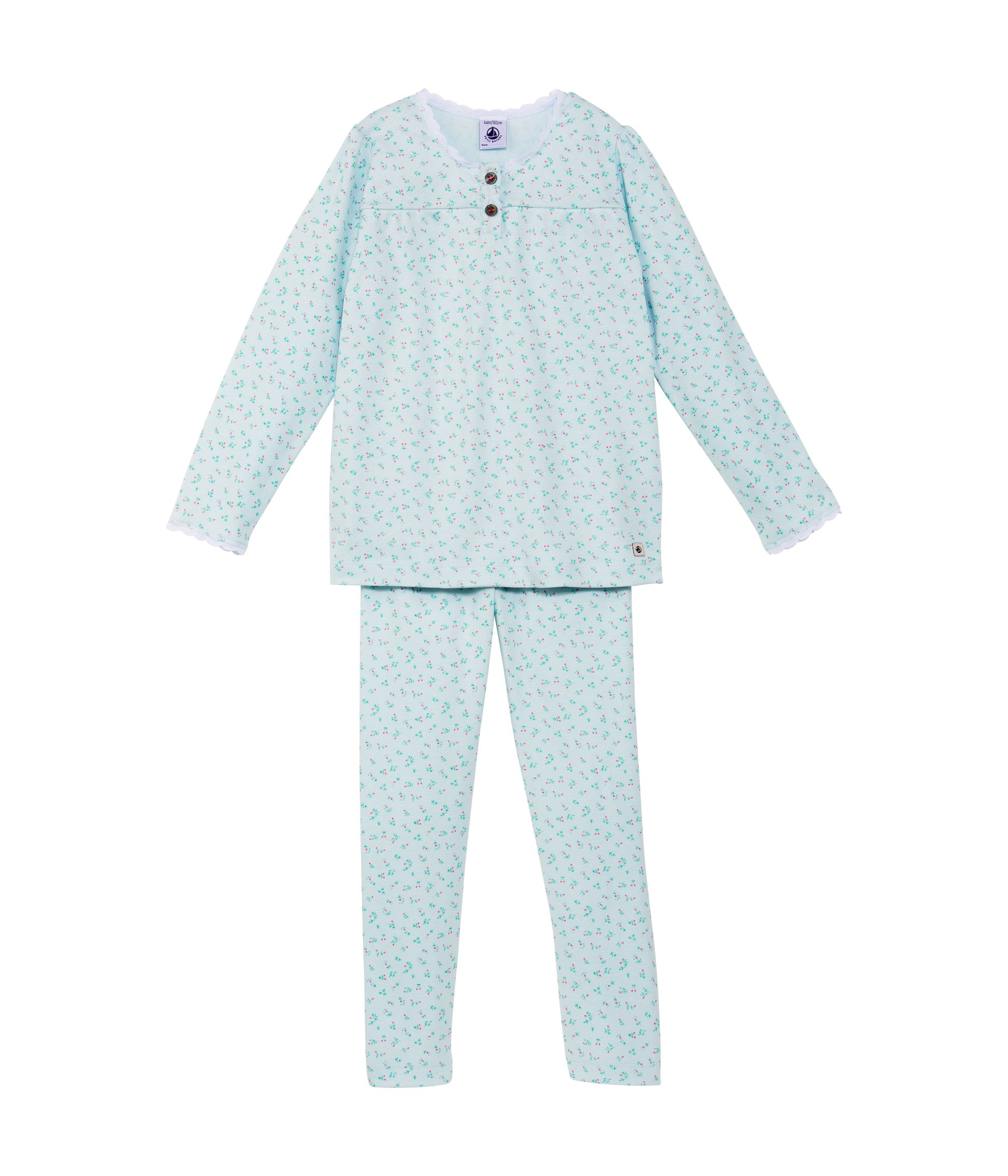 Girls flowery cotton pyjamas