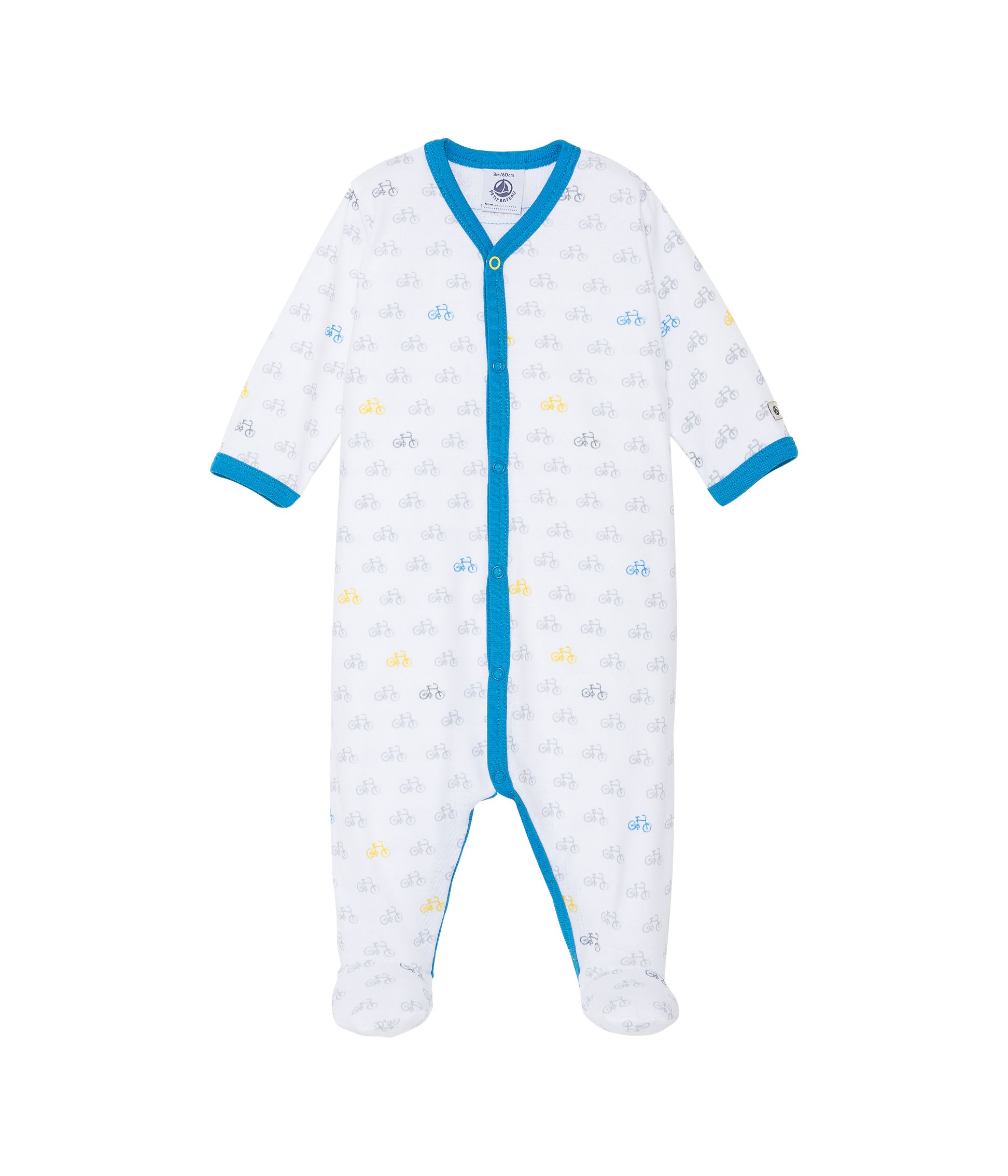 Baby boys bicycle print sleepsuit