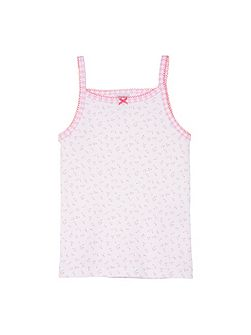 Girls flower print cotton vest top