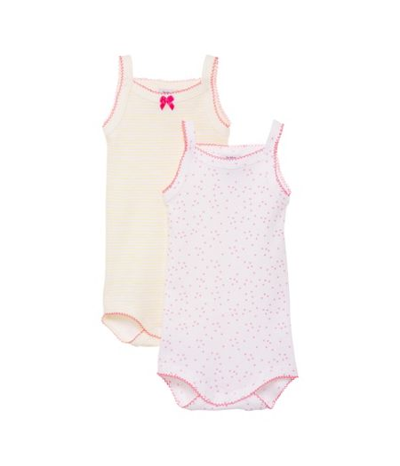 Petit Bateau Baby girls 2 pack of bodysuits