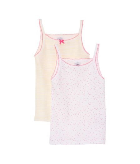 Petit Bateau Girls 2 pack of printed vests