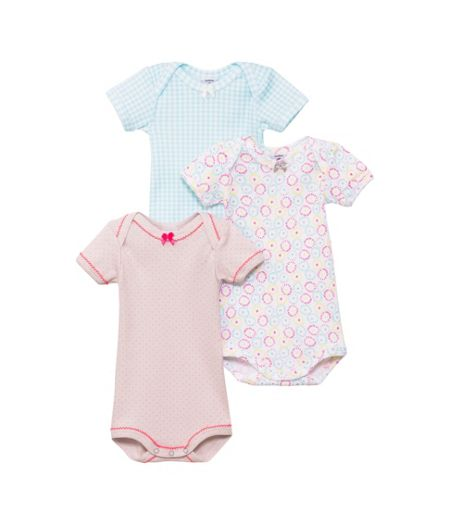 Petit Bateau Baby girls 3 pack of bodysuits