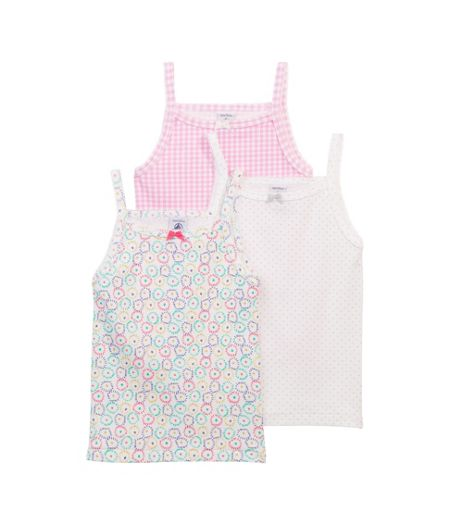 Petit Bateau Girls 3 pack of printed cotton vests