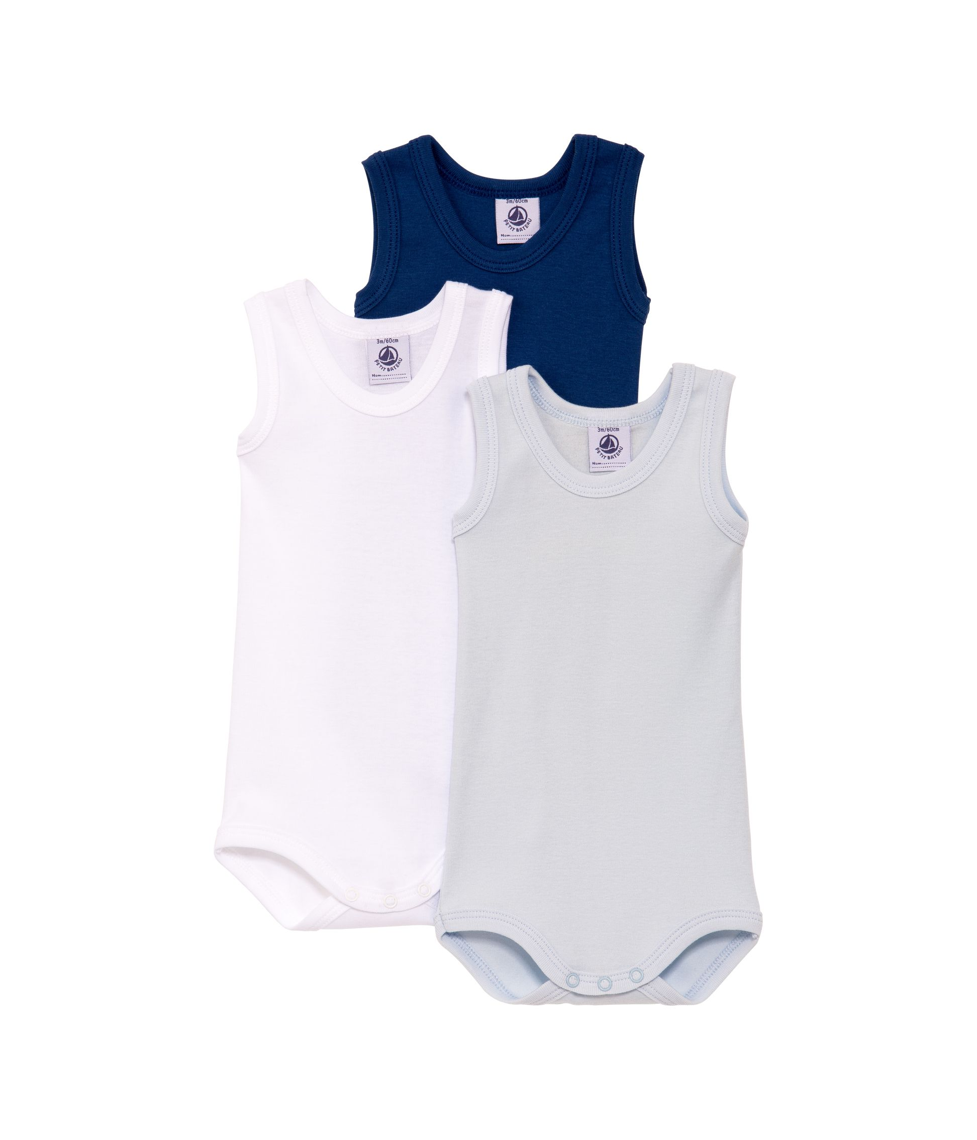 Baby boys 3 pack of sleeveless bodysuits