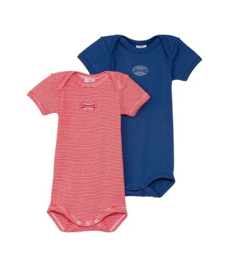 Petit Bateau Baby boys 2 pack of short sleeve bodysuits