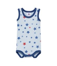 Petit Bateau Baby boys star print sleeveless bodysuit