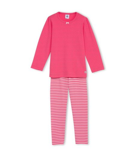 Petit Bateau Girls Pyjamas With Dots And Stripes