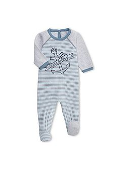 Baby Boys Striped Tubic Cotton Sleepsuit