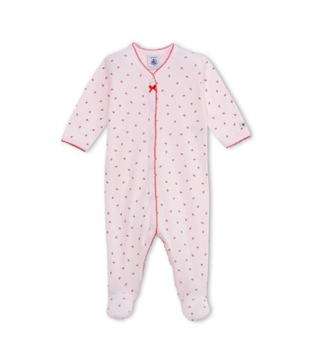 Petit Bateau Baby Girls Strawberry Print Sleepsuit