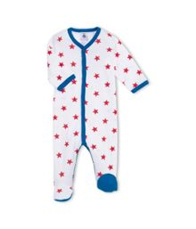 Petit Bateau Baby Boys Cotton Star Print Sleepsuit