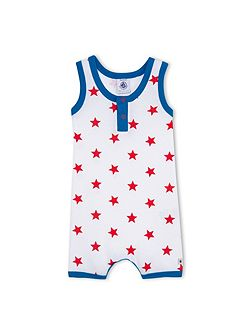 Baby Boys Cotton Shortie With Star Print