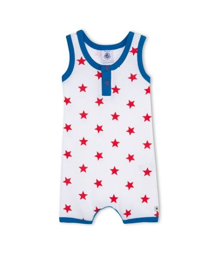 Petit Bateau Baby Boys Cotton Shortie With Star Print