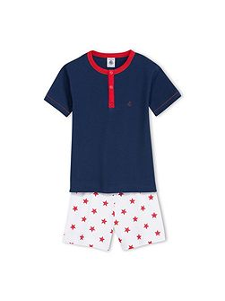 Boys Short Star Print Cotton Pyjama