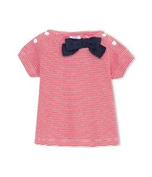 Petit Bateau Baby Girls Striped T-Shirt With Bow