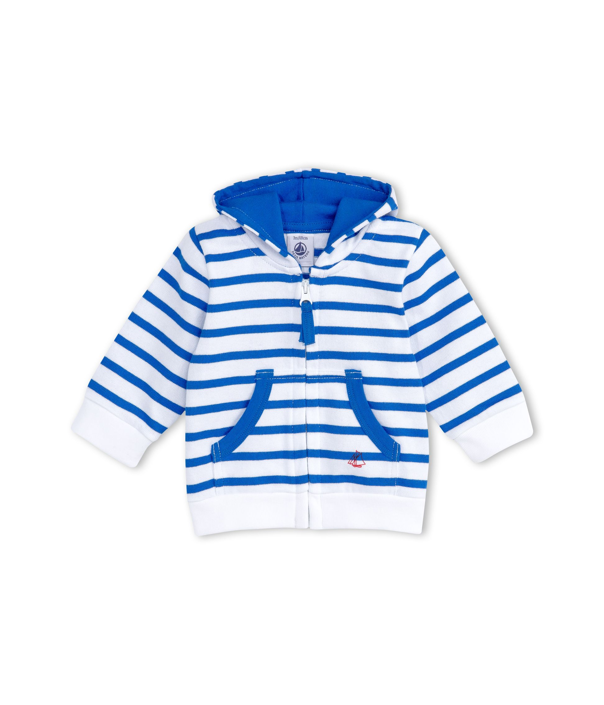 Petit Bateau Petit Bateau Baby Boys Zip-Up, Hooded Sweatshirt, Blue
