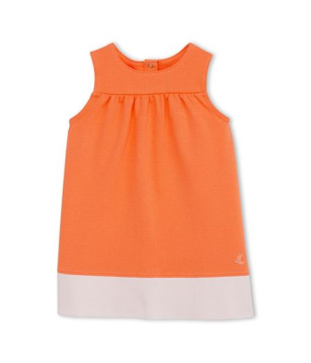 Petit Bateau Baby Girls Dress In Two-Tone Jersey