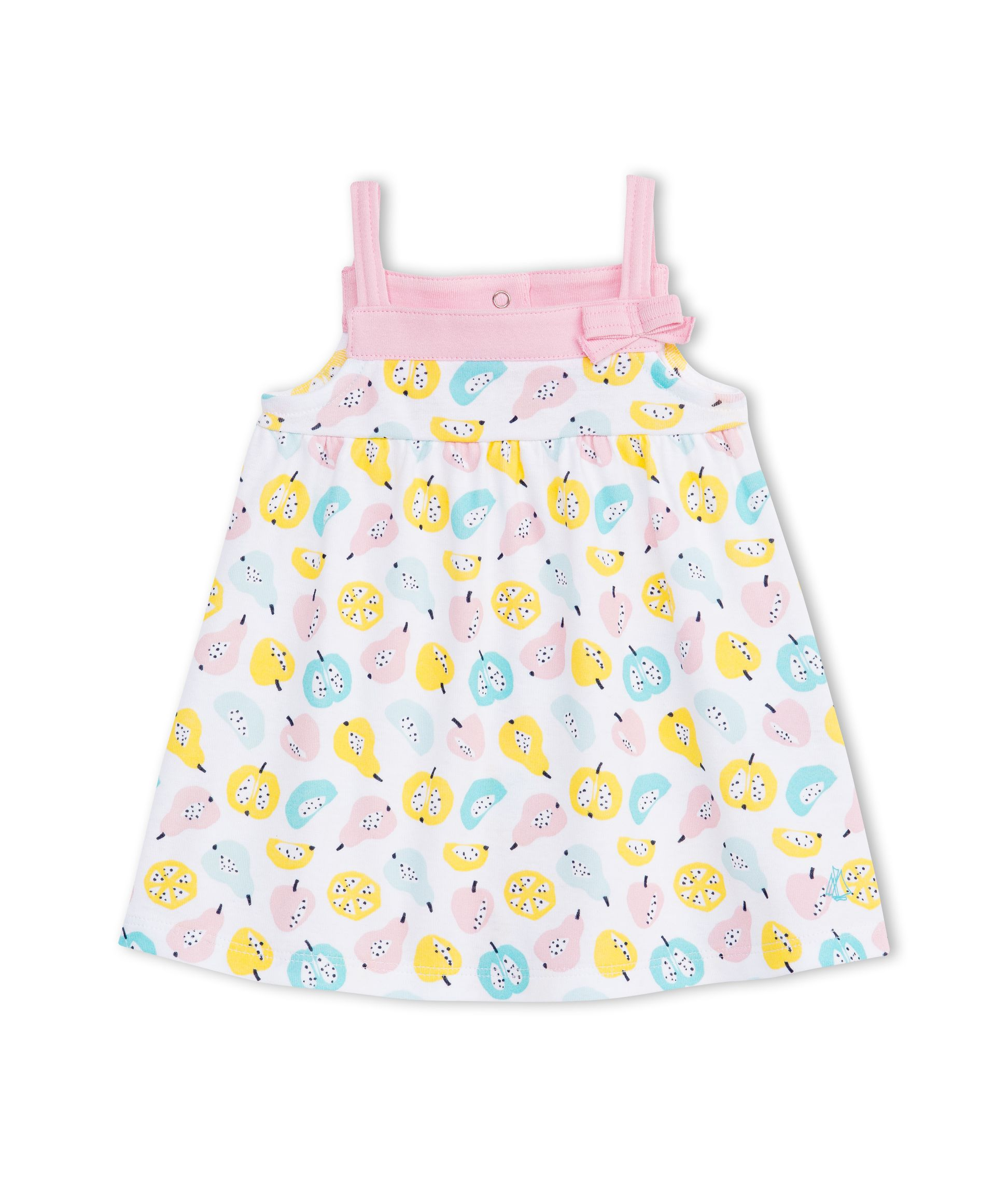 Petit Bateau Petit Bateau Baby Girls Fruity Print Strappy Dress, Pink