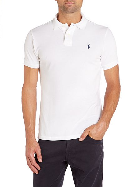Polo ralph lauren custom fit mesh polo shirt white house for White fitted polo shirts