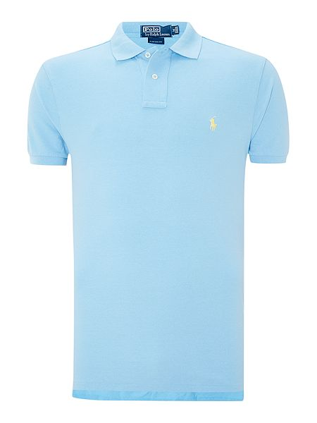 polo ralph lauren custom fit mesh polo shirt sky blue