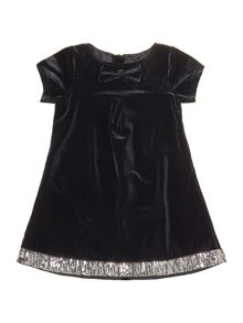 Baby girls panne velvet short sleeve dress
