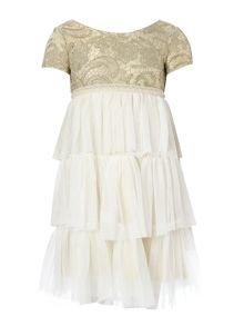 Girls bi-material tulle and embroidery short slee