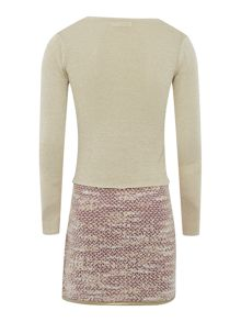 Girls knitted tweed long sleeve dress