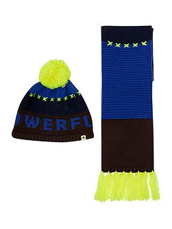 Boys knitted hat and scarf set