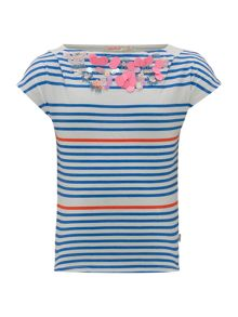 Billieblush Girls Striped T-Shirt with Sequin