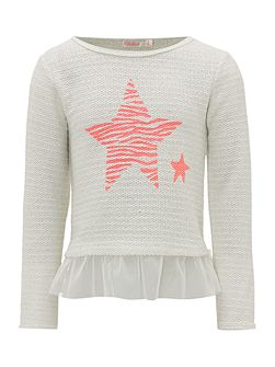 Girls Long Sleeved Top with Tulle Hem