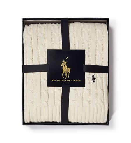 Ralph Lauren Home Cable cream throw 127x177