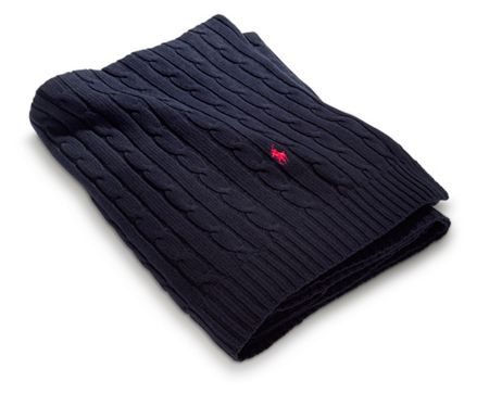 Ralph Lauren Home Cable navy throw 127x177